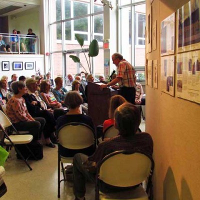 Edwin Romond reads his work at the Sussex County Community College Poetry Festival, Newton, NJ. (Photo by Jean LeBlanc)